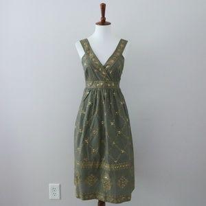 Michael Kors Olive Dress Gold Sequin Floral Boho